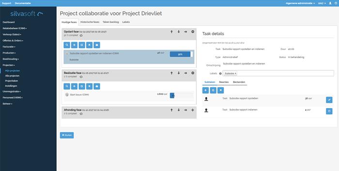 Overzicht van de taken en subtaken per project opgedeeld in verschillende fases.