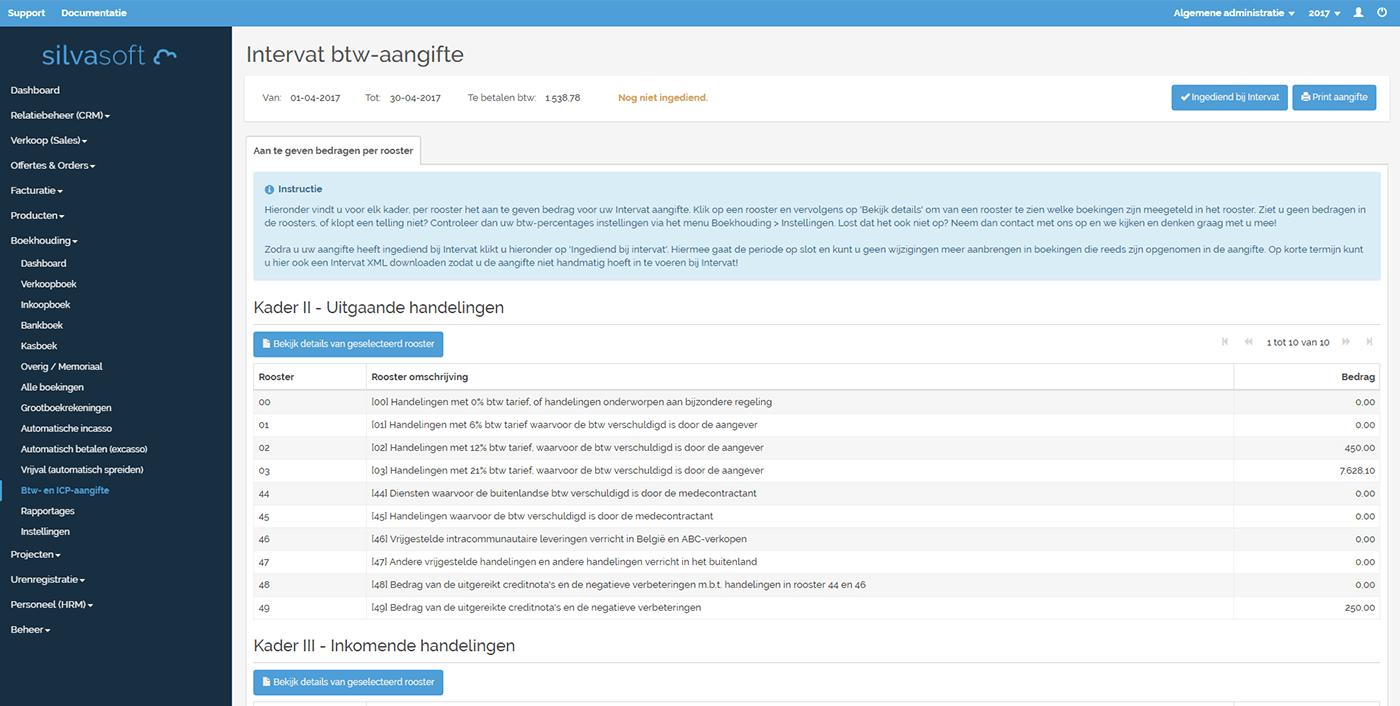 Silvasoft berekent automatisch uw btw-aangifte. U hoeft deze enkel nog maar te uploaden bij Intervat!
